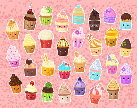 Set of funny stickers for girls. Cute cartoon cupcakes. Collection in the style of kawaii. Positive emotions. Vector illustration.