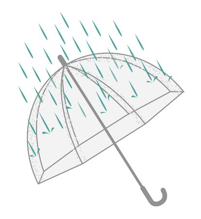 Open transparent umbrella and rain. Isolated on a white background. Vector illustration.
