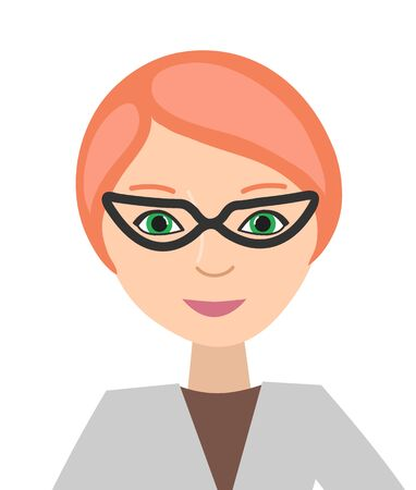 Avatar, portrait of a woman in glasses and business clothes. Isolated on a white background. Flat design. Vector illustration.