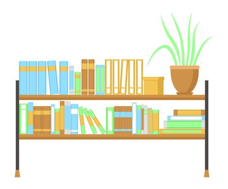 Bookshelf. Isolated on a white background. Flat design. Stock Illustratie