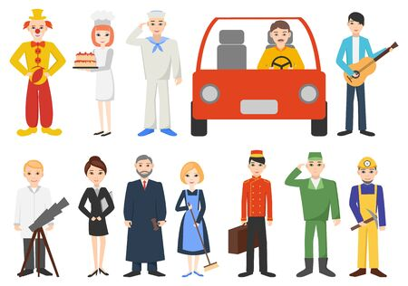 Set of people from different professions. Characters isolated on a white background. Flat design. Illusztráció