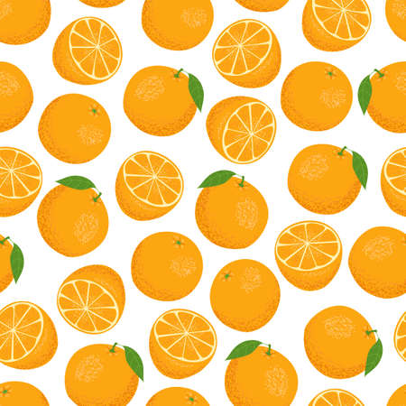 Whole oranges and halves on a white background. Summer seamless pattern. Vector illustration.