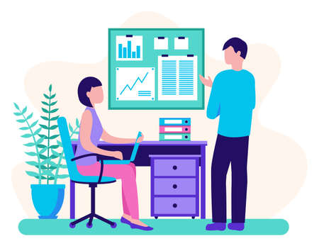 Workflow in the office. Man and woman discuss a development strategy. Business planning. Flat design. Vector illustration.