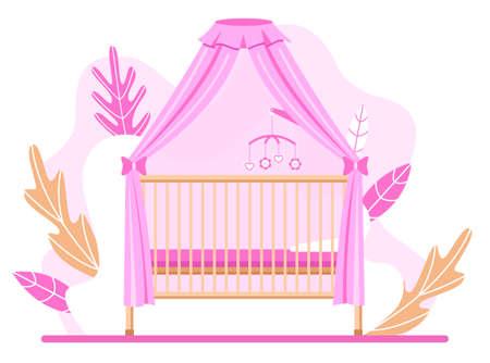Wooden baby cot. Cradle with pink canopy. Flat design. Vector illustration. Vecteurs