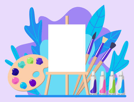 Imagination and inspiration concept. Art education. Drawing lesson. Creative process. Easel, palette, oil paints and brushes. Flat design. Vector illustration.