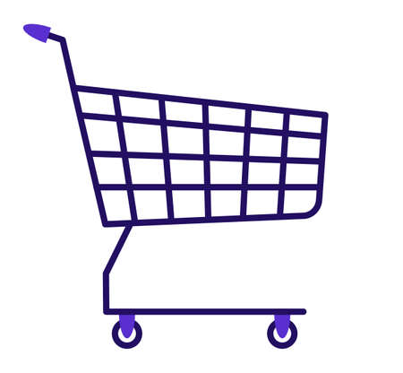 Shopping cart icon. Flat design. Isolated on a white background. Vector illustration.