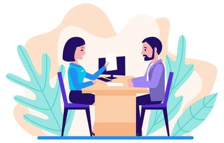 The loan processing. The bank manager prepares the contract with the client. Financial advisor. Flat design. Vector illustration.
