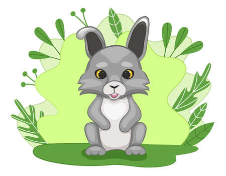 Cute little baby hare in a forest clearing. Green background with leaves and plants. Cartoon style. Vector illustration.