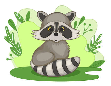 Cute little raccoon cub in a forest clearing. Green background with foliage and plants. Cartoon style. Vector illustration.