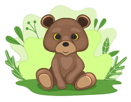 Cute baby bear in a forest clearing. Background of leaves and plants. Cartoon style. Vector illustration.