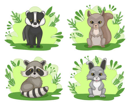 Set of cute cartoon cubs of forest animals. Badger, squirrel, raccoon and hare. Cartoon style. Vector illustration.
