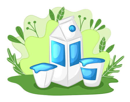 Natural dairy products concept. Milk in cardboard box, sour cream and yogurt in a clearing. Cartoon style. Vector illustration.