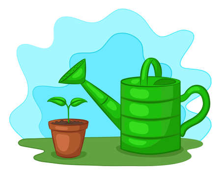 Watering can and small sprout in pot in clearing. The gardening concept. Cartoon style. Vector illustration.