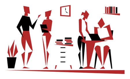 Working process. People in the office. Flat design of simple shapes. Vector illustration.