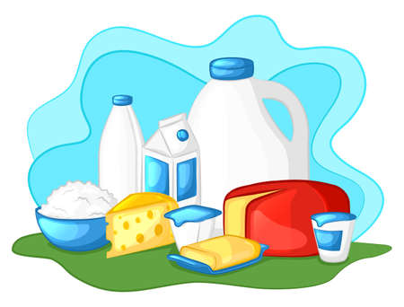 Milk and dairy products. Sour cream, butter, cheese, and others. Cartoon style. Vector illustration.
