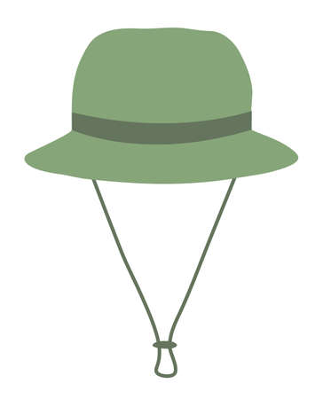 Green fisherman's hat. Panama. Isolated on a white background. Vector illustration. 矢量图像