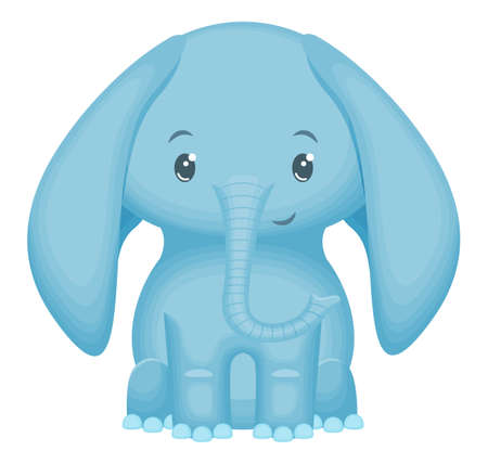 Cute funny little baby elephant. Isolated on white background. Vector illustration.