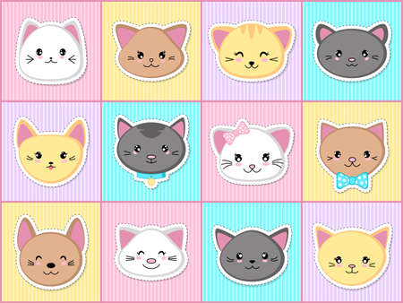 Set of cute kittens stickers in the style of kawaii. Cat faces. Vector illustration.