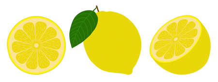 Lemon from different angles. Fruit cut in half. Isolated objects on white background. Vector illustration. Иллюстрация