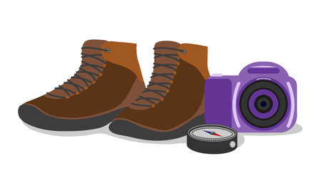 Hiking concept. Shoes, camera, and compass. Isolated objects on white background. Vector illustration.