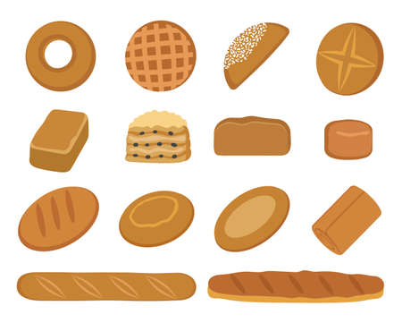 Set of bakery products. Bread, rolls and loaves. Isolated on white background. Vector illustration.