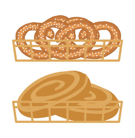 Pretzels and rolls in baskets. Bakery products, pastries. Isolated on white background. Vector illustration.