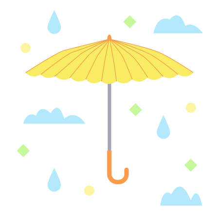 The yellow umbrella. Flat design. Isolated icon on white background. Vector illustration.