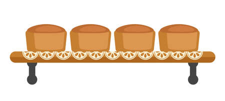 Bakery products on the shelf. Buns. Isolated on a white background. Vector illustration.
