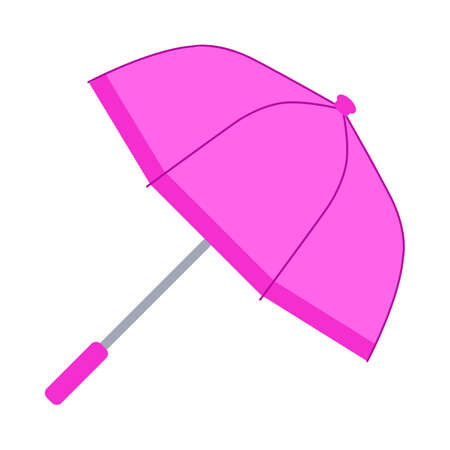 The pink umbrella. Flat design. Isolated icon on white background. Vector illustration.