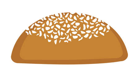 Loaf of round bread. Isolated on a white background. Vector illustration.