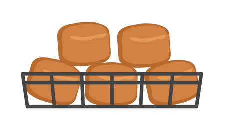 Buns in the basket. Bakery. Isolated on white background. Vector illustration.