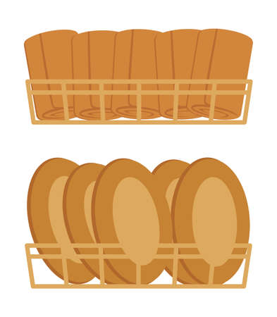 Bakery products in baskets. Buns and pies. Isolated on a white background. Vector illustration.
