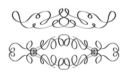 Decorative elements for the design. Borders in retro style. Vector illustration. 矢量图像