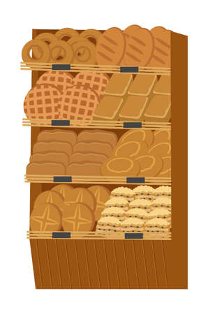 Showcase with bakery products. Bread, rolls and pastries. Isolated on white background. Vector illustration.