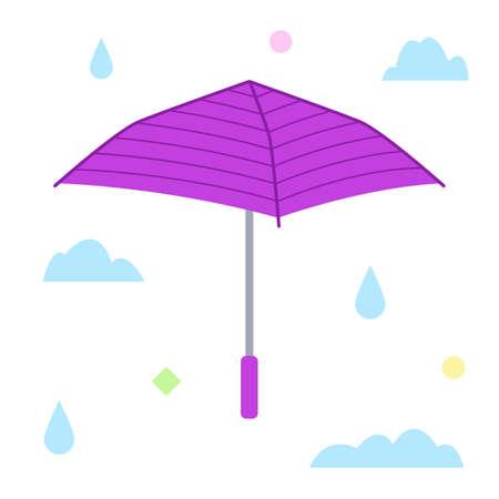 The purple umbrella. Flat design. Isolated icon on white background. Vector illustration.