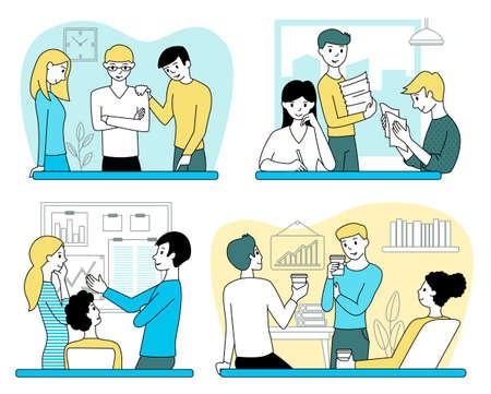 Set of teamwork concepts. Men and women work in the office. Black outline vector illustration.