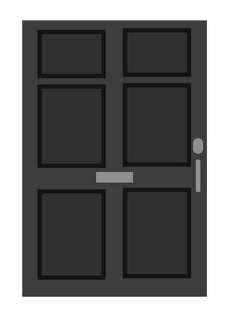 Black closed front door. Isolated on a white background. Flat design. Vector illustration.
