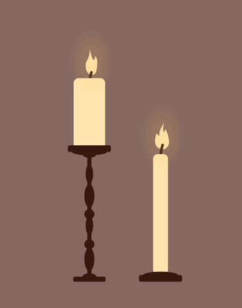 Two burning candles in candlesticks. Retro style. Vector illustration.