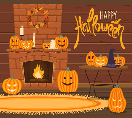 Halloween interior. Festive decoration of the house with pumpkins and candles. Burning fire in the fireplace. Living room. Cartoon style. Greeting card. Vector illustration.