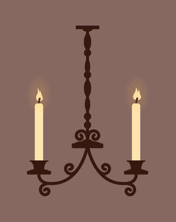 Antique chandelier with two candles. Candlestick in the gothic style. Vector illustration. Ilustracja