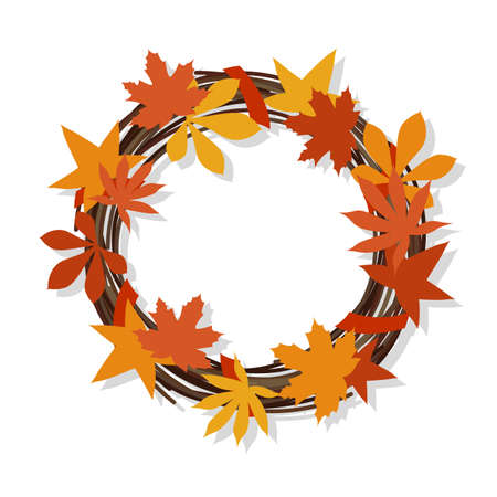 Wreath of branches and autumn leaves. Thanksgiving, Halloween decor. Isolated object on a white background. Vector illustration.