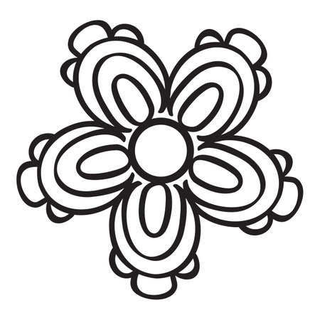 Abstract decorative flower. Black icon on white background. Vector illustration. 矢量图像