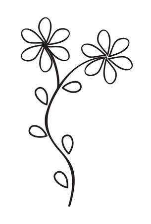 Abstract plant with two flowers. Thin line style. Isolated on a white background. Vector illustration.