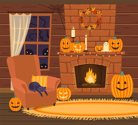 The interior of the hut is decorated for Halloween. Window, fireplace, and chair. Cartoon style. Vector illustration.