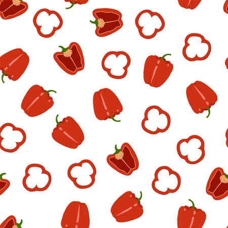 Bell peppers. Whole and sliced. Seamless pattern. Vegetables on a white background. Vector illustration. 矢量图像