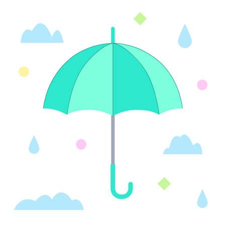 The blue umbrella. Flat design. Isolated icon on white background. Vector illustration. 矢量图像