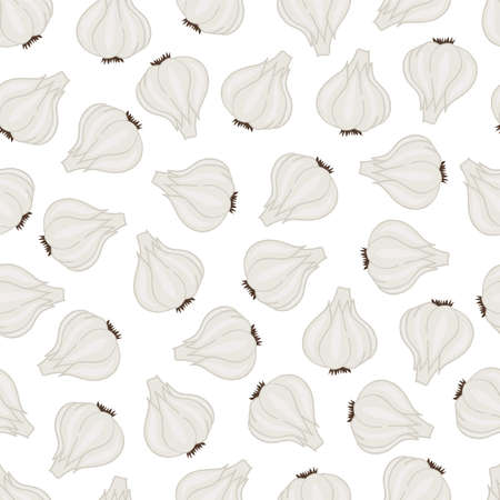 Garlic seamless pattern. Objects on a white background. Vector illustration.