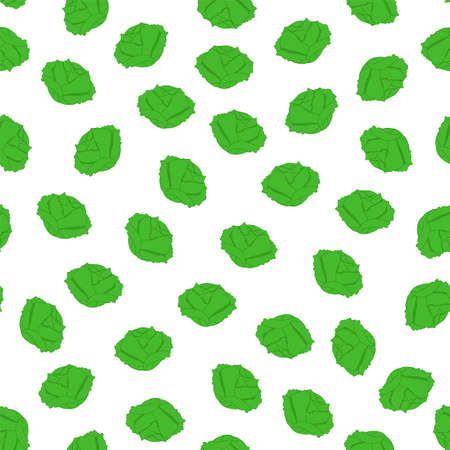 Cabbage seamless pattern. Vegetables on a white background. Seamless pattern. Vector illustration.