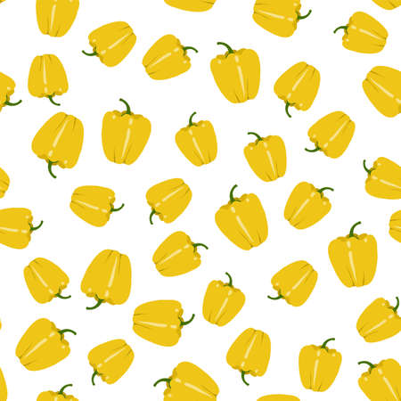 Yellow sweet bell peppers. Paprika. Vegetables on white background. Seamless pattern. Vector illustration.