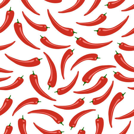 Red hot pepper. Seamless pattern. Objects on a white background. Vector illustration. 矢量图像
